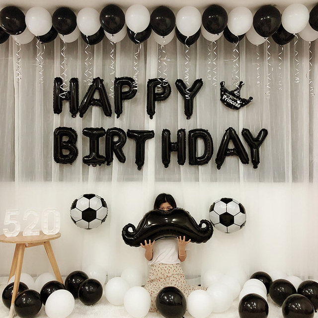 Black White Party Happy Birthday Football Soccer Fans Foil Balloons Baby Boy Childrens Day Bar KTV Decoration Supplies