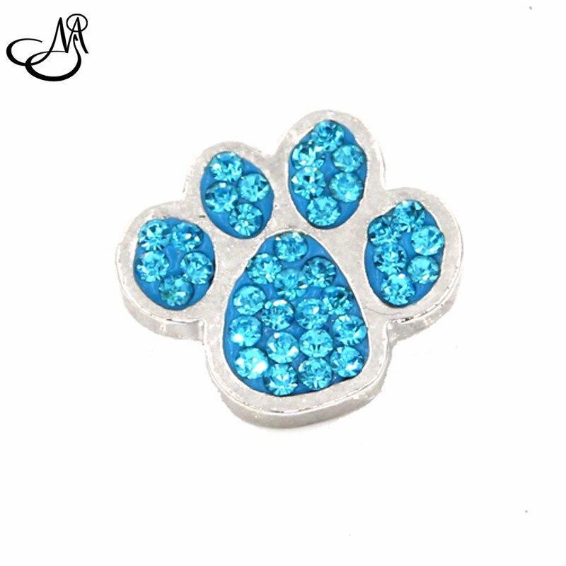 Handmade 18MM blue crystal rhinestone Dog paw snap buttons ...