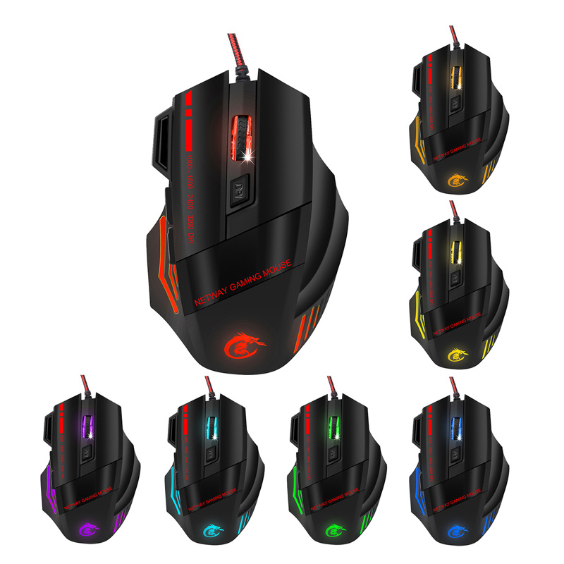Universal Wired Optical Gaming Mouse Max 5500DPI Resolution USB Lights Game Mice For Pro Gamer Laptop OD889