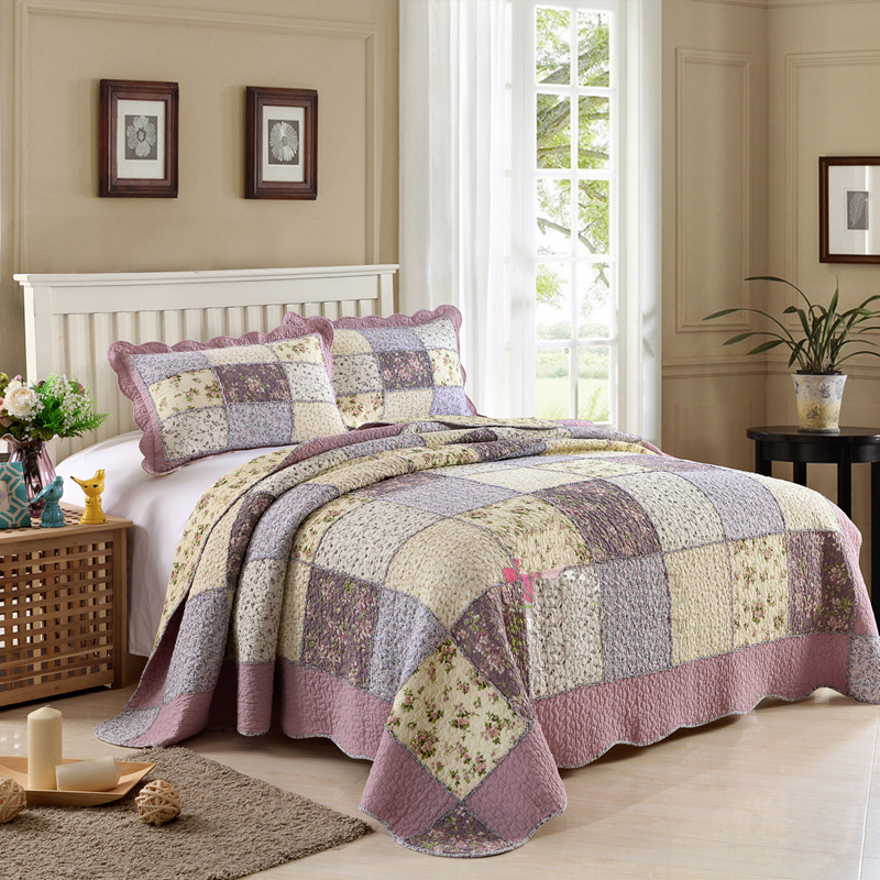 CHAUSUB New Patchwork Quilt Set 3pcs Korean Floral Coverlet Quilted Bedspread Cotton Quilts Bed Cover Blanket <font><b>Pillow</b></font> <font><b>Case</b></font> King image
