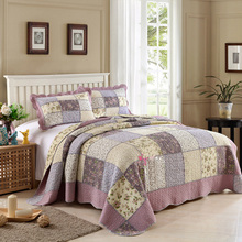 CHAUSUB New Patchwork Quilt Set 3pcs Korean Floral Coverlet Quilted Bedspread Cotton Quilts Bed Cover Blanket Pillow Case King