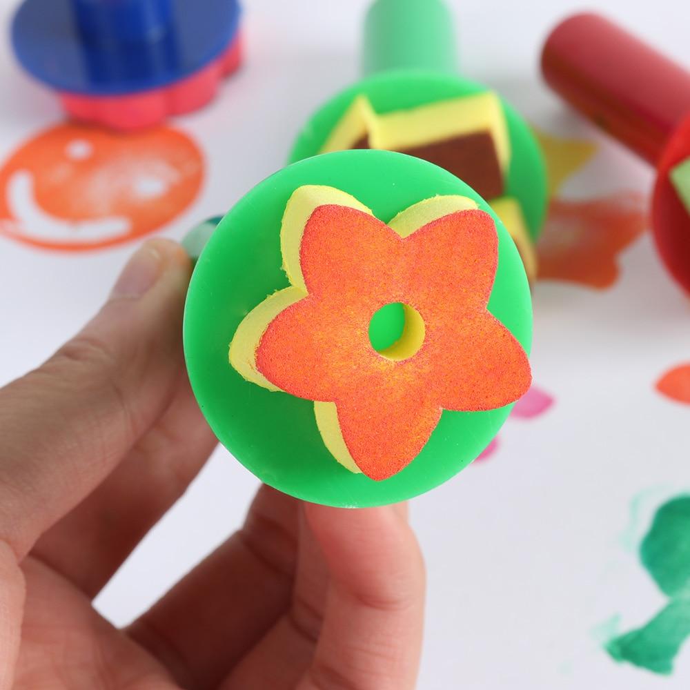 Kids Art Supplies DIY Graffiti Sponge Paint Brush Flower Stamp Drawing Toys