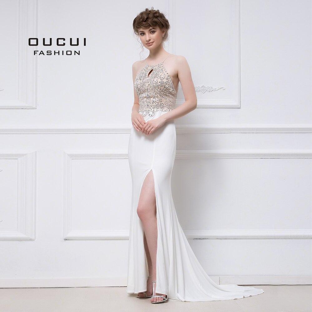 Real Photos Noodles Shoulder Strap Beading Hand Make Prom   Dresses   High Split Elegant Long   Evening     Dress   OL102812B