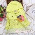 Outono Primavera Do Bebê Crianças Das Meninas do Miúdo Bonito Polka Dot Com Capuz de Lã De Coelho Inverno Quente Cap Outwear Jaquetas Casaco Cardigan S1276