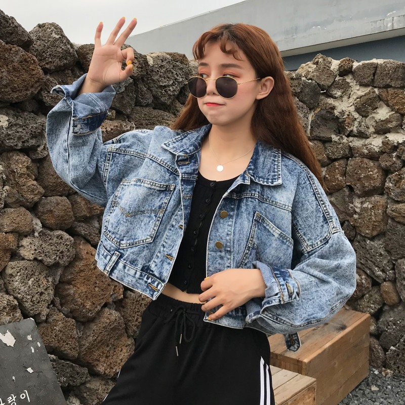 Cheap Wholesale 2018 New Autumn Winter Hot Selling Women's Fashion Casual Denim Jacket G317(China)