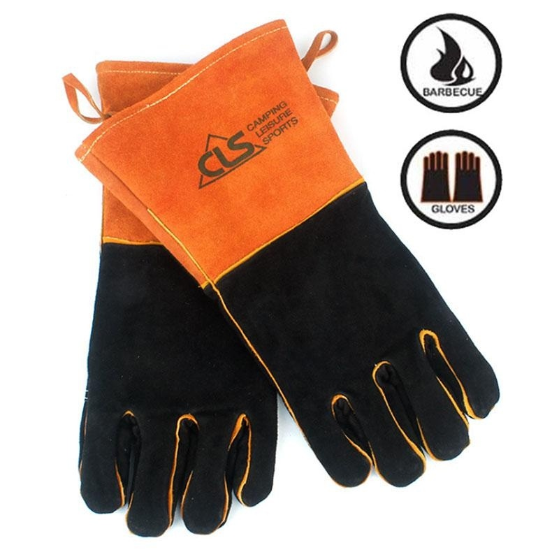1Pair Outdoor High Temperature Camping Thickening Gloves Sports Training Gloves Hiking BBQ Full Finger Gloves