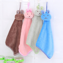 1PC Animal Microfiber Hand Towel Kids Children Cartoon Rabbit Absorbent Dry Lovely For Kitchen Bathroom D2