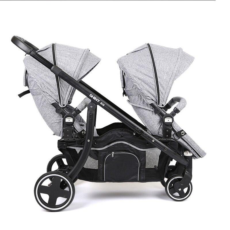 Быстрая доставка! Высококачественная детская коляска двойка, фиолетовая коляска 4 цветов в наличии, Всесезонная детская коляска двойка