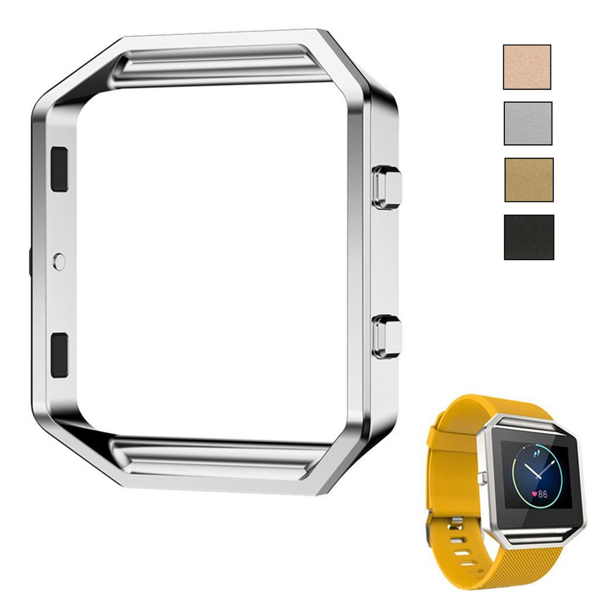 Stainless Steel Metal Watch Frame Replacement Holder Shell For/Fitbit Blaze Watches Accessories Gold Silver Black Rose Gold metal ring holder for smartphones rose gold
