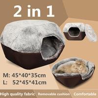 Cama de inverno para gatos 2 em 1  cama macia e lavável para cachorros e gatos  filhotes  caverna  tapete para dormir nest canil dobrável pet suprimentos