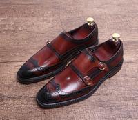 Модные ручной резной пряжкой мужские деловые туфли квадратными носами монах обувь на низком каблуке