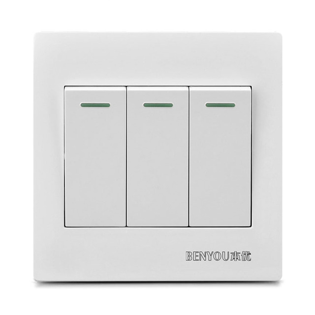 JOYING LIANG Classic 86mm Type 3 Gang/ 2 Way Switch White Wall PC ...