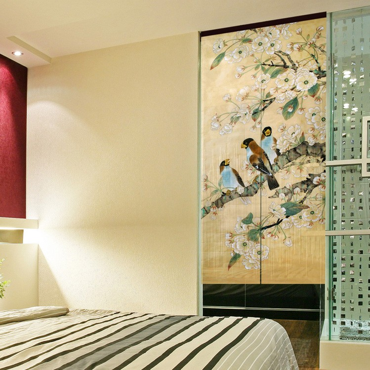 Exceptionnel Free Shipping Customize Curtains Folding Screen Translucent Curtain  Decoration Painting Chinese Style Ink Painting Flower Door In Curtains From  Home ...
