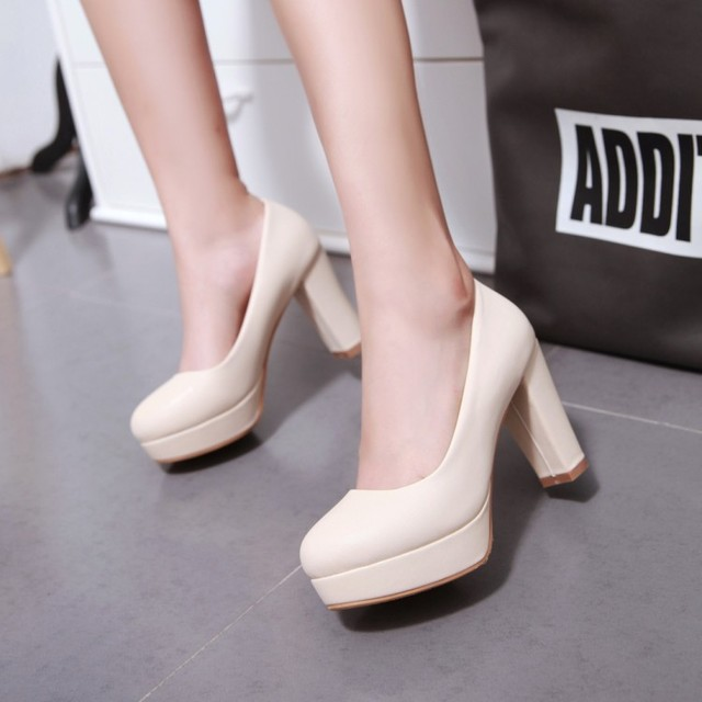 women high heels shoes working shoes thicken heel white wedding shoes sys-935