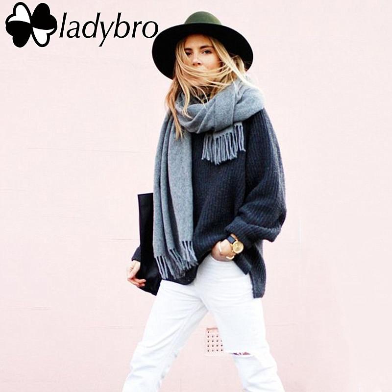 Ladybro Brand Women Scarf Men Imitation Cashmere Scarf Female Male Winter Tassels Luxury Black Scarves Shawls Warm Pashmina