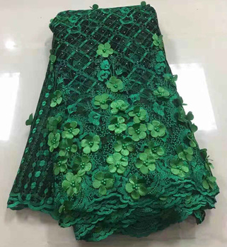 5Yards/lot 2018 High Quality Nigerian French Lace African Lace Fabric for Women Dress Peach Africa 3D Lace Fabric