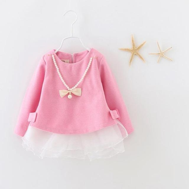 Vestidos de meninas de Aniversário Festa de Casamento do bebê do outono, princesa infantil Vestido de Manga Longa com arco colar S2155