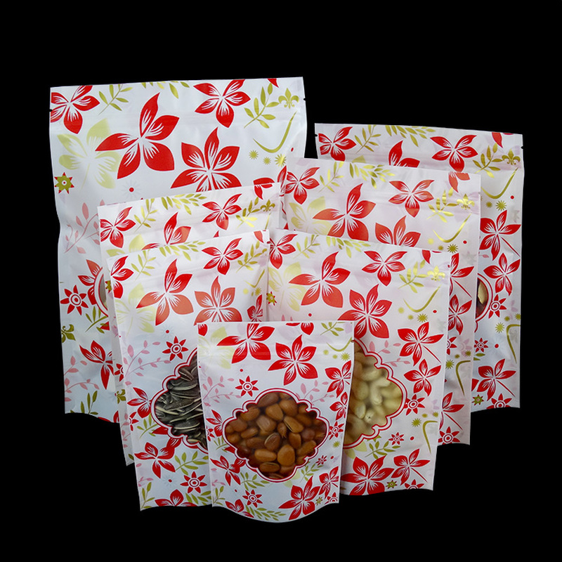 100PcsFood Moisture-proof Bags Red Flowers Frosted Bags Stand Up Pouch Ziplock Packaging for Beverage Coffee Snack Cookie Baking