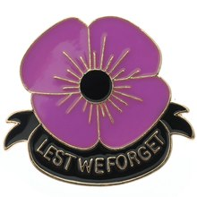 Purple Poppy Bros Bunga British Memorial Bros Perjamuan Lencana Bros Pin(China)