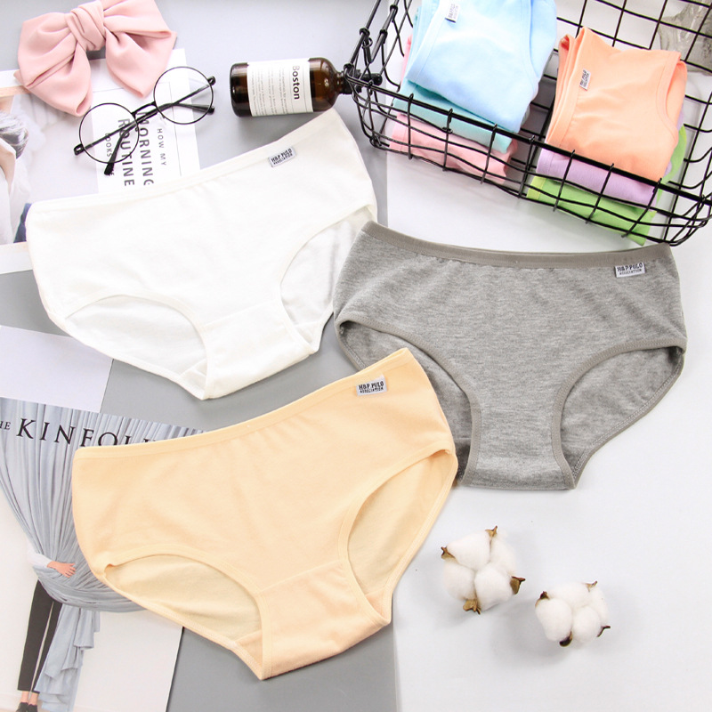 HUI GUAN Classic Solid Cotton Seamless Briefs Soft Women Underwear Sexy Lingerie Colorful Mid Waist Female Panties String Thongs