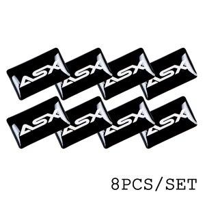 Image 5 - 8pcs רכב סטיילינג הגה 3D קטן סמל מדבקת גלגל מדבקות Fit עבור מיצובישי ASX הנכרי פאג רו לנסר רכב מדבקה