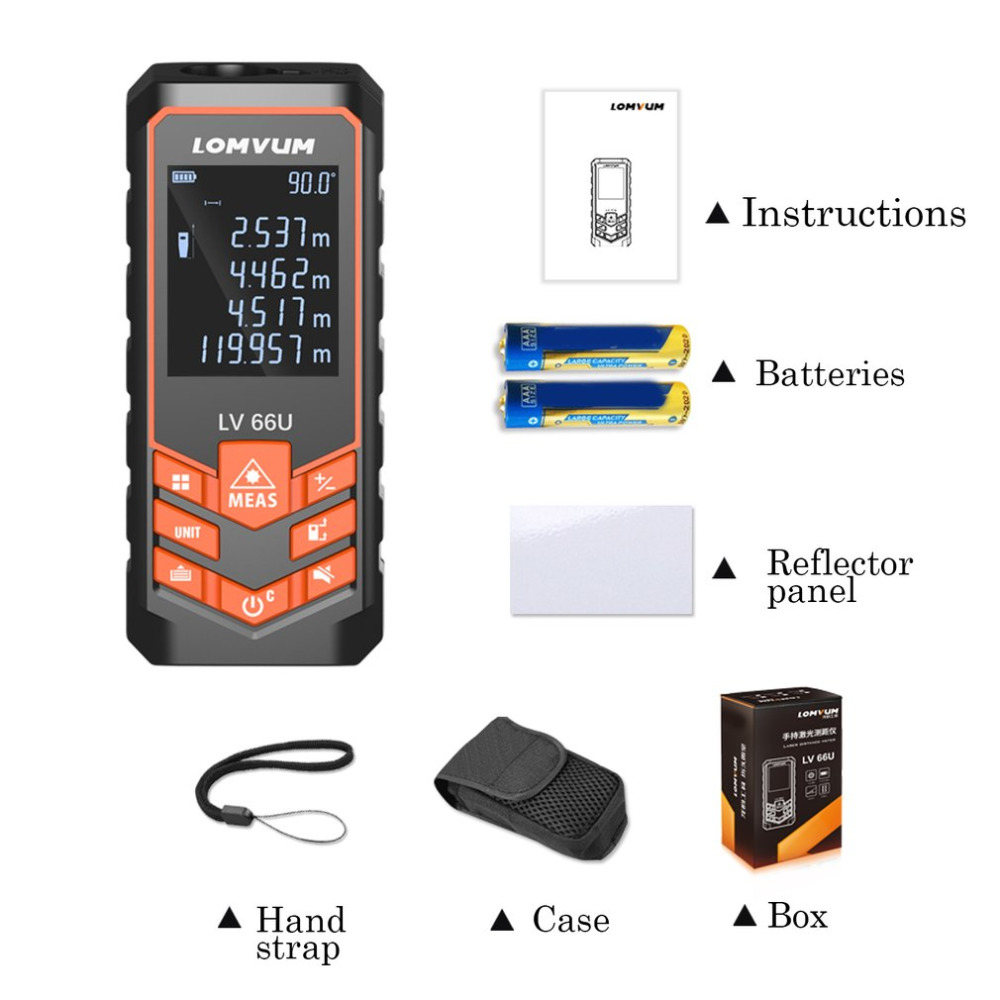 LOMVUM Digital Laser Range Finder Auto Level Distance Meter Measuring Handheld Instrument Rangefinder 40m 50m 60m 80m 100m 120m