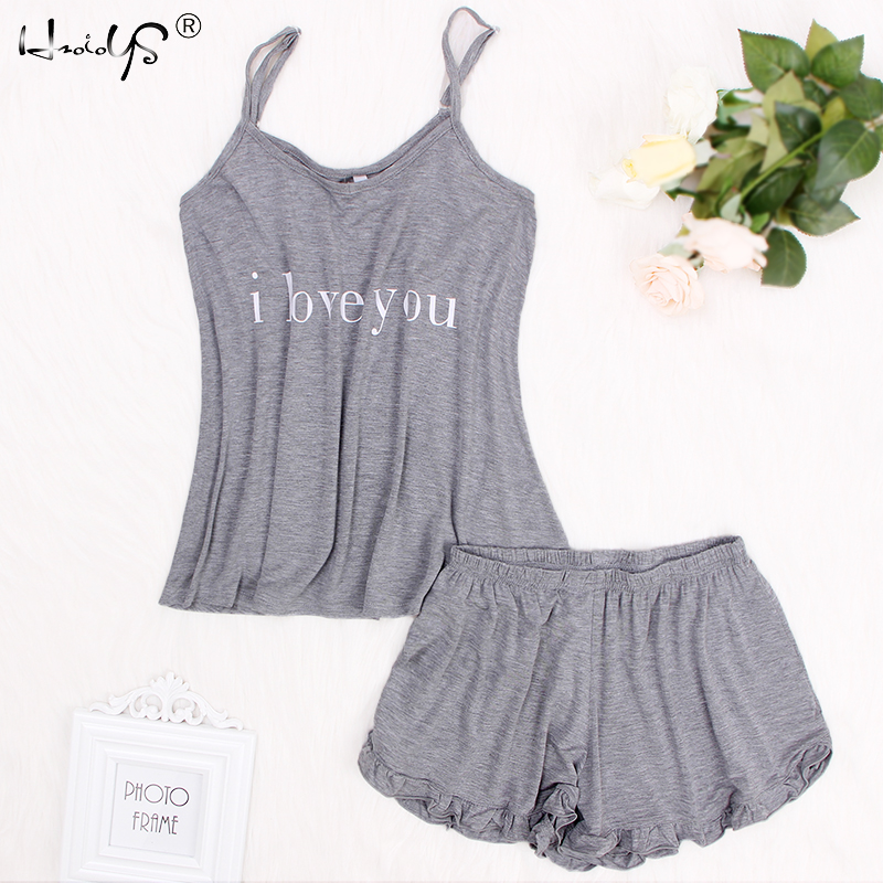 Loose sleepwear Letter Printing   Pajamas     Sets   2019 Summer Women Cotton   Pajama     Set   Sleeveless Top With Shorts   pajamas   for women