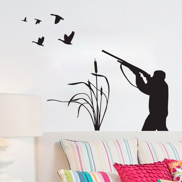 Bird Hunting Wall Decals Vinyl Creative Sticker Home Decor Living Room Wall  Decorative Hunter Wall Stickers
