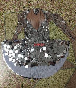 Image 5 - Brillant argent miroirs pierre robe femme chanteuse danseuse brillant body Costume une pièce boîte de nuit robe Oufit robes de fête