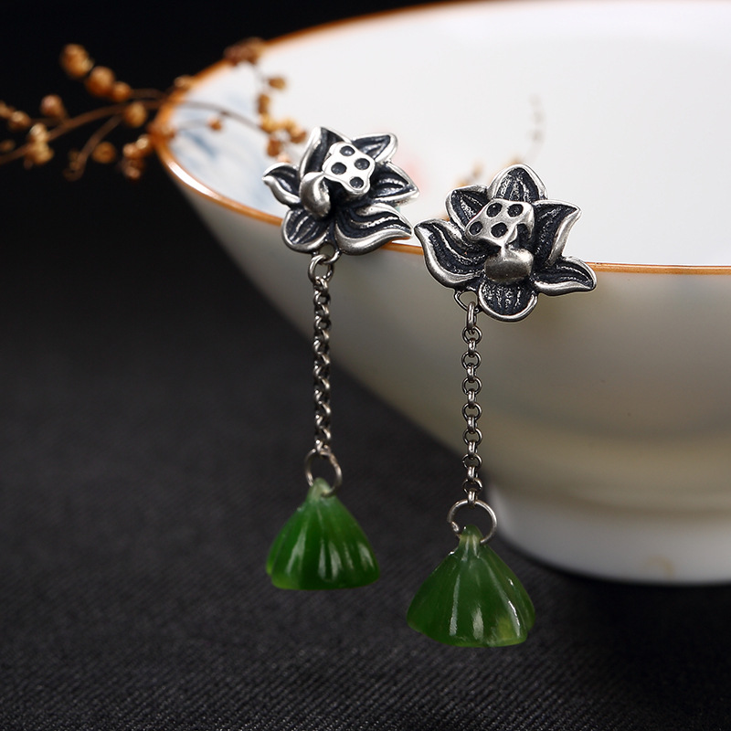 2018 Time-limited Real Jasper Brinco One Deer S925 Pure Antique Matte Mosaic And Tian Yu Jade Lotus Lady Earrings Wholesale 2018 rushed new s925 pure antique mosaic and tian yu magpie lotus flower tassel sweater chain pendant wholesale