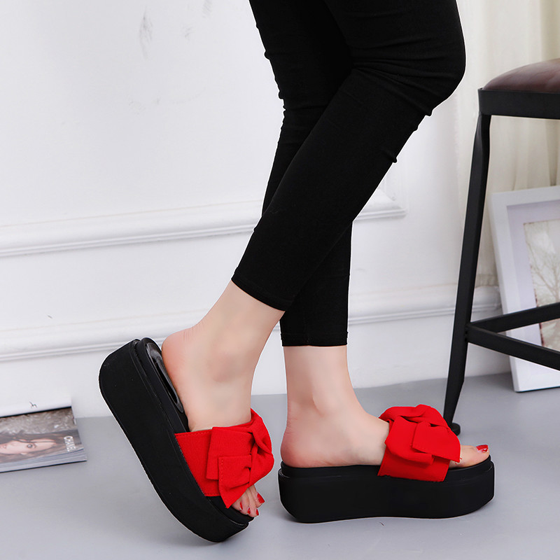 Women Sandals with Bow 2017 New Fashion Summer Bowknot Princess Slippers Platform Super Cute Slides Red Green Black Size 35-39