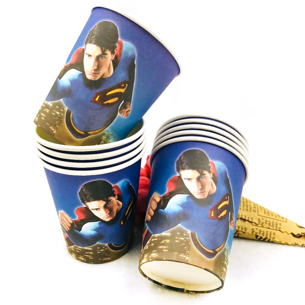 10pcs/set Superman Cup Cartoon Theme Party For Children/Boys Happy Birthday Decoration Supplies Festival Favors