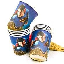 10pcs/set Superman Cup Cartoon Theme Party For Children/Boys Happy Birthday Decoration Supplies Festival Favors