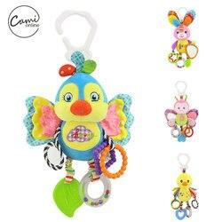 Детская кровать-коляска с птичкой, подвесная погремушка для новорожденных, мобильный Грызунок «кролик», плюшевые игрушки с резиновыми коль...