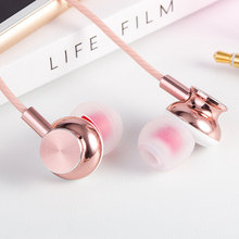 Big discount REZ M430 Rose Gold Metal Earphone Fashion ErgoFit Noise Isolating Earbuds Super Bass Headsets with Mic for mobile phone