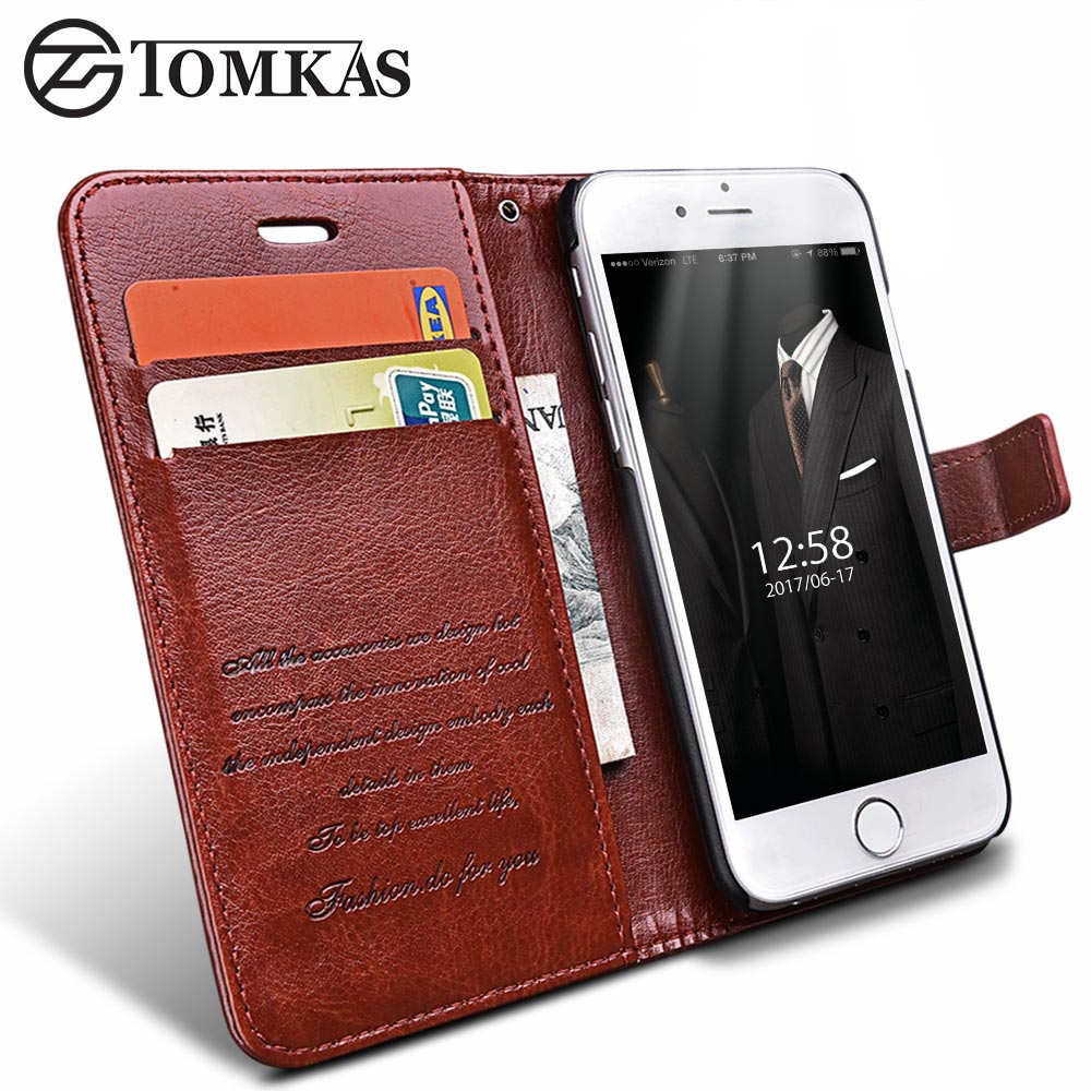 Wallet Leather <font><b>Case</b></font> For iPhone 6 6S / 6 6S Plus <font><b>Luxury</b></font> Coque Cover for iPhone 6 S Plus <font><b>Phone</b></font> <font><b>Cases</b></font> With Card Slot TOMKAS <font><b>Brand</b></font>