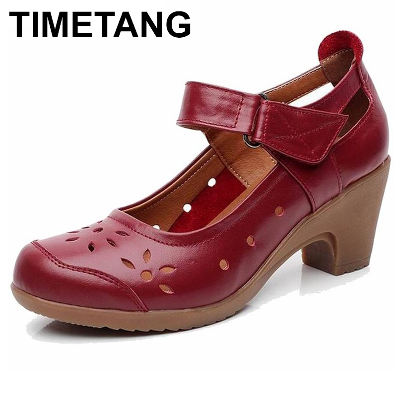 TIMETANG 2018 Spring Autumn Shoes Woman 100 Genuine Leather Women Pumps Lady Leather Round Toe Platform