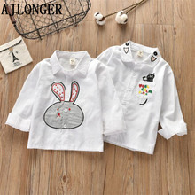 AJLONGER Baby Girls Boys Shirts Kids Fashion Clothes Spring Autumn Cartoon Blouse Shirt For Cotton