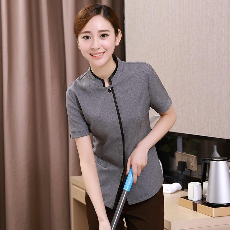 Summer Short Sleeves Hotel Uniform Restaurant Waitress Uniforms Waitress Uniform Pastry Chef Clothing Housekeeping Clothing