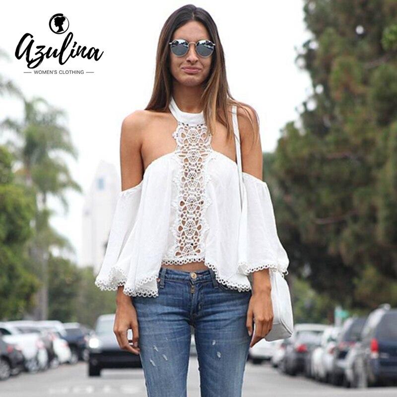 AZULINA Cabestro fuera del hombro de encaje camisa de la blusa Atractiva del ver