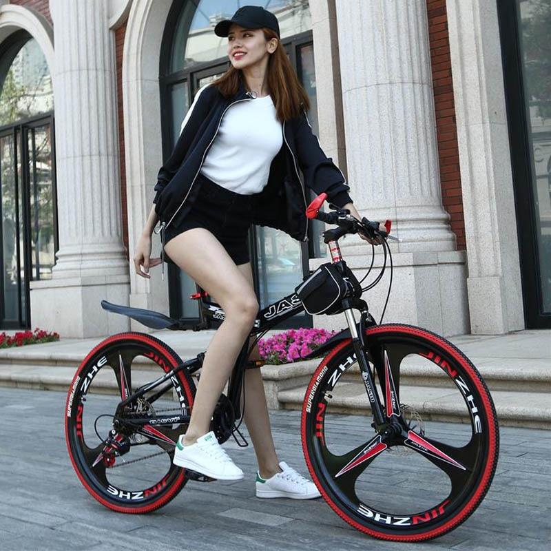HTB1MZ8JXg2DK1JjSZFKq6yYgVXaf 26 inch mountain bike 21 speed Folding mountain bicycle double disc brake bike New folding mountain bike Suitable for adults