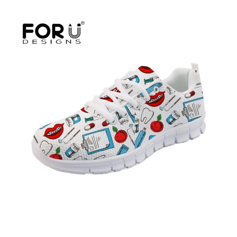 FORUDESIGNS kobiety mieszkania Cartoon szpital dentysta pielęgniarka lekarz wzór buty w stylu casual oddychające oczek kobiet Sneakers Zapatos Mujer w Damskie buty typu flats od Buty na  Grupa 1