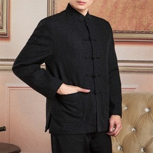 High Quality Chinese Traditional Men's Mandarin Collar Wool Long Sleeve Kung-Fu Jacket Coat Free Shipping S M L XL XXL XXXL