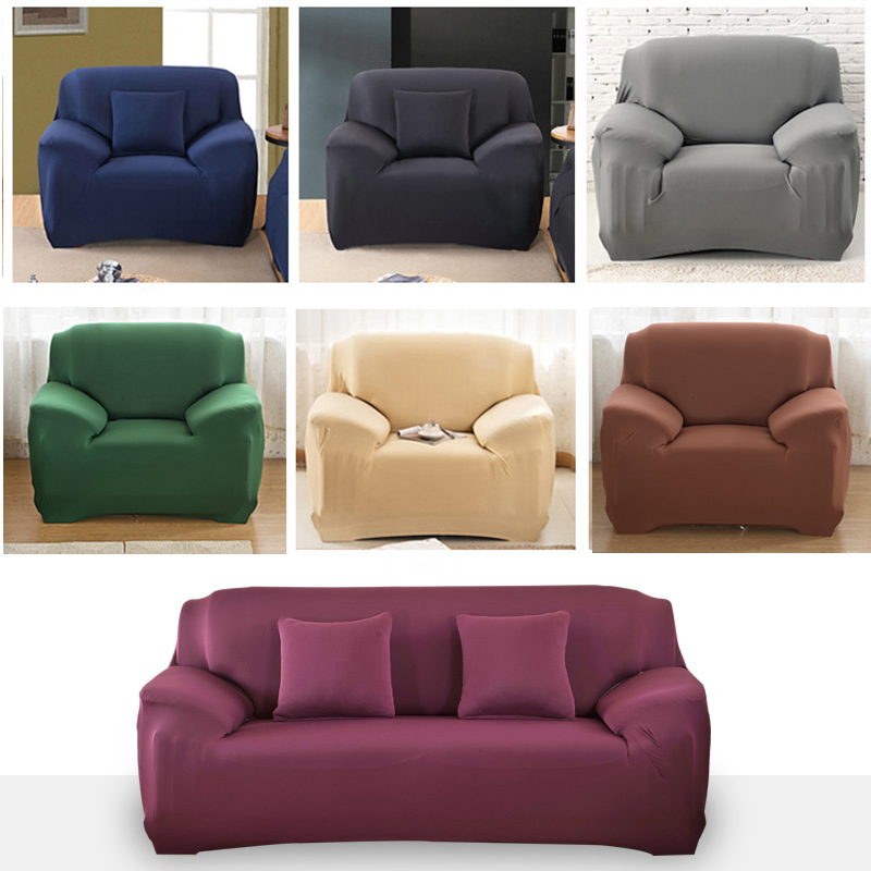 4 3 2 1 Seat Elastic Spandex Sofa Cover Universal Solid Color Stretch Couch Slipcover funda
