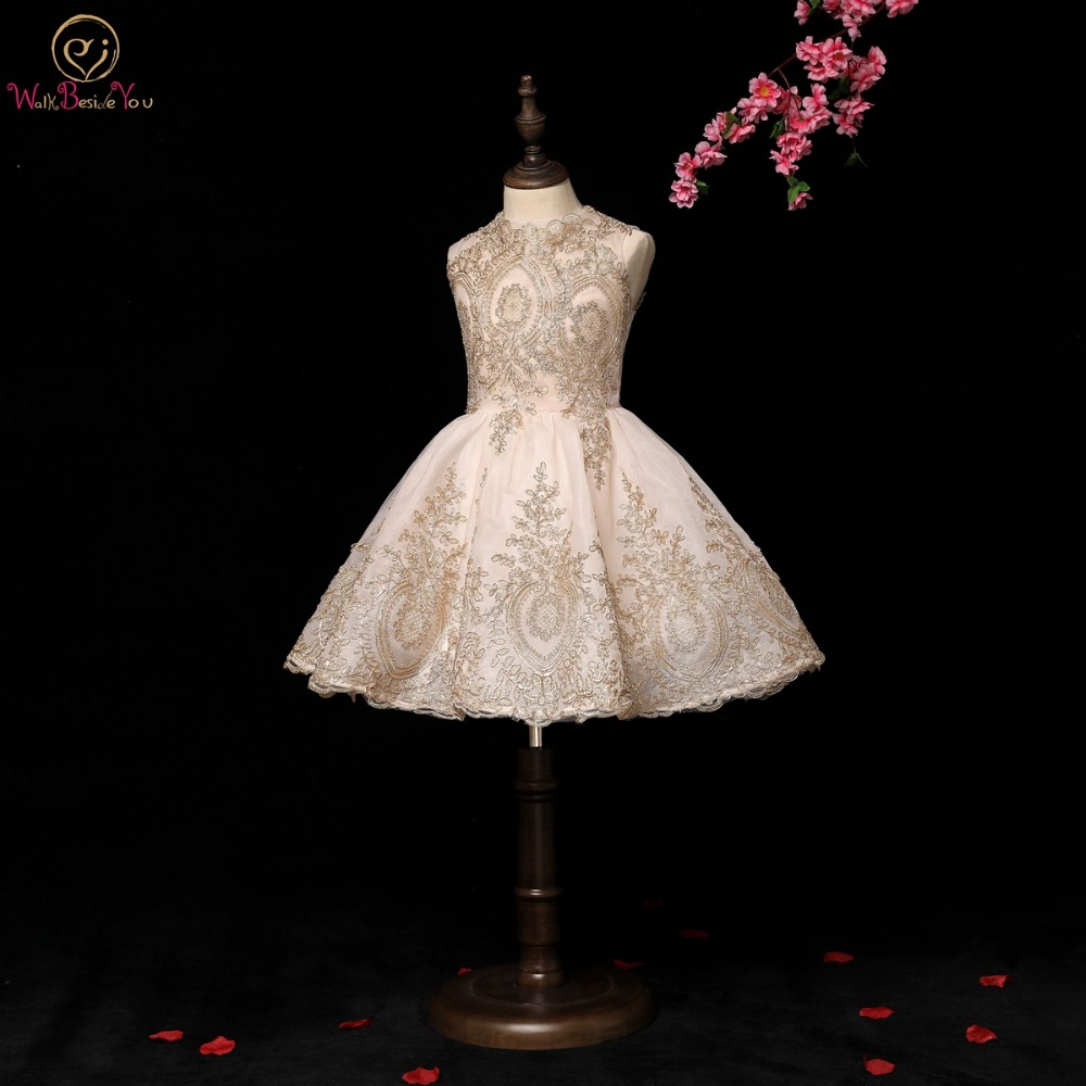 Walk Beside You Gold Flower Girl Dresses Lace Applique Ball Gown High Neck Short Primera Comunion Pageant Dresses For Girls 2019