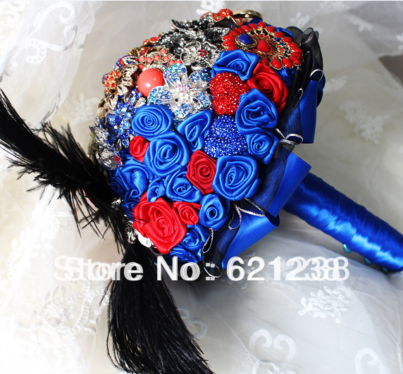 EMS free shipping,Red and blue wedding bride holding flowers / jewelry custom hand flower / retro court style brooch bouquet