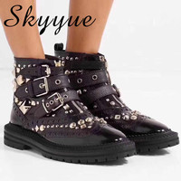 SKYYUE New Arrivals Genuine Leather Metal Studded Women Ankle Boots Sexy Buckle Strap Punk Women Autumn Winter Boots Women