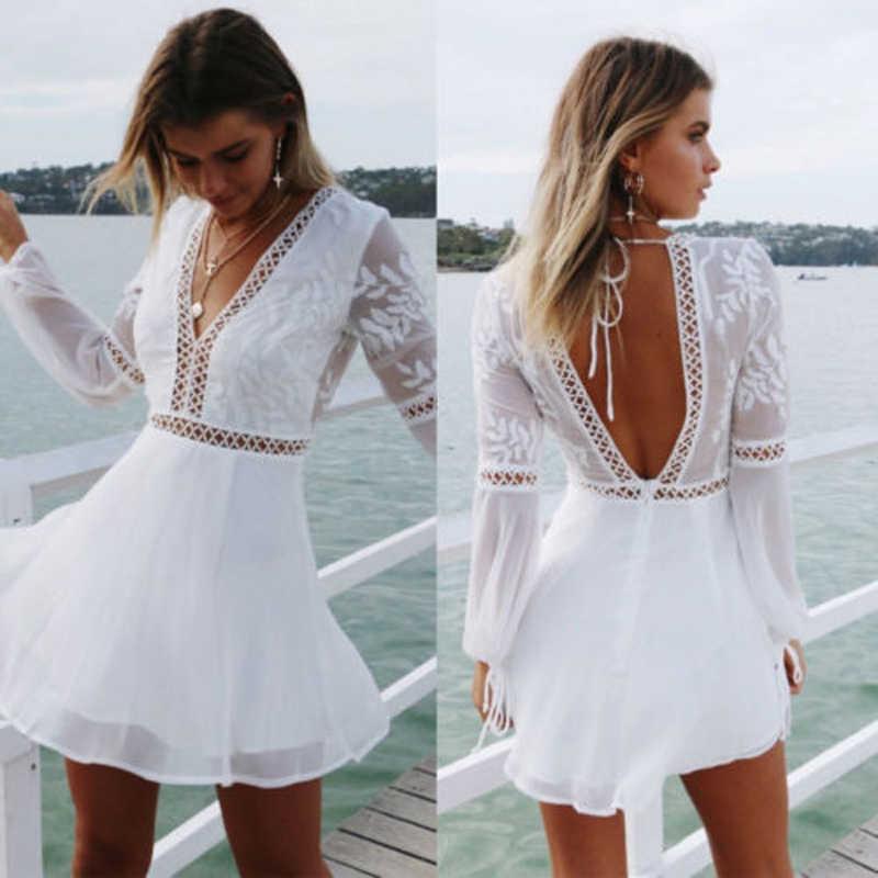 ใหม่แฟชั่นผู้หญิง Boho แขนยาว Backless สีขาวชุดราตรีฤดูร้อนสบายๆ V คอ Beach Sundress