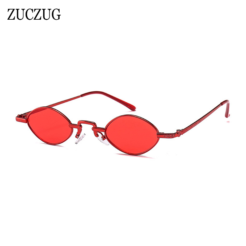 ZUCZUG Retro Small Frame Oval Sunglasses Women Brand Designer Vintage Red Green Metal Frame Sunglasses For Female Unisex UV400