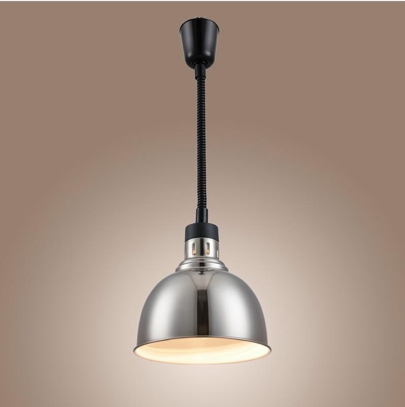 250W Food Warmer Lights / Retractable Cord Ceiling Mount Heat Lamp with Chrome Finish / Adjust 75-175cm / Shade Diameter 25cm orangefox гороховый 175cm